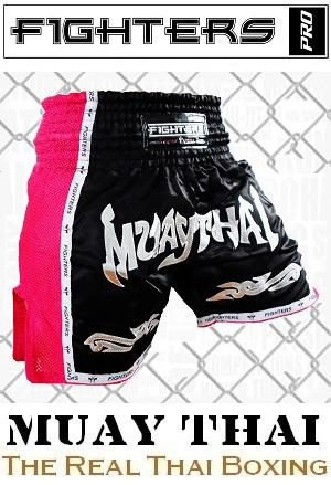 FIGHTERS - Shorts de boxe thai / Elite Muay Thai / Noir-Rose / Medium